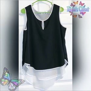 Cato's Sleeveless Black & White Top